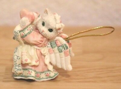 Enesco Calico Kittens Peace On Earth Hanging Christmas Tree Ornament Cat Angel
