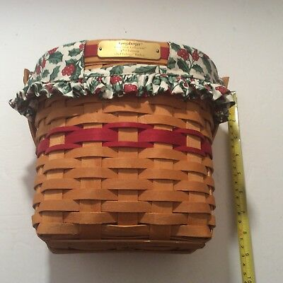 Longaberger Christmas Collection Glad Tidings Basket 1998 Combo Liner Protector