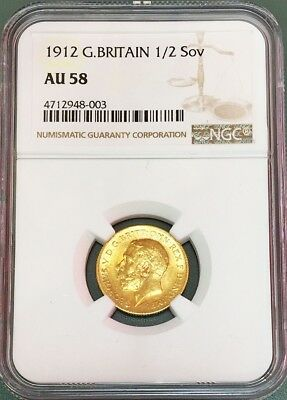 1912 Gold Great Britain Half Sovereign George V Coin Ngc About Unc 58