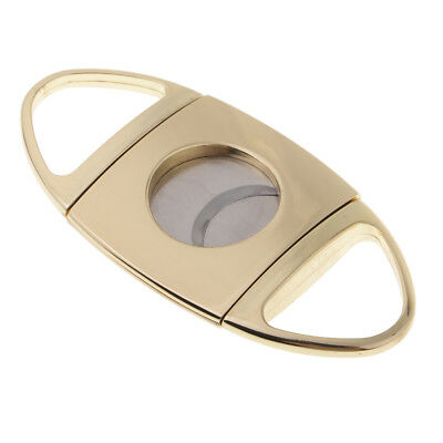 Stainlesss Steel Double Blade Cigar Cutter Gift for Husband and Dad Golden