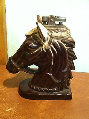 Vintage Chess Piece Knight Horse Head Table Lighter
