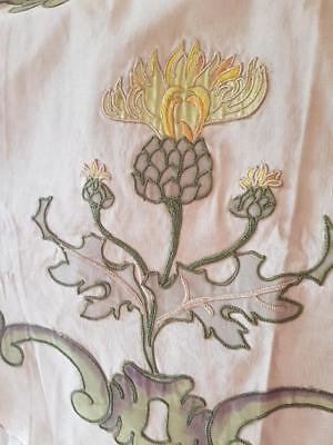 Stunning Rare Antique French Art-Nouveau Crewelwork Embroidered Textile Panel