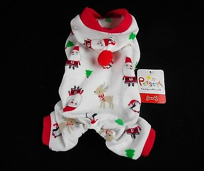 Christmas Pet Dog Jumpsuit Hoody Pajamas Puppy Clothes Costume