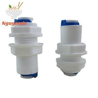 """Tmalltech 1/4"""" Inch White Fittings Bulkhead Connector Tube Quick Connect For Ro"""