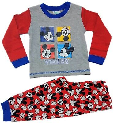 Official Mickey Mouse Pyjamas Pajamas Pjs Boys Toddlers Children 9-24 Months