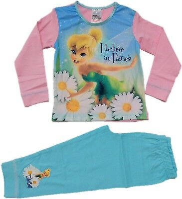 Official Disney Tinkerbell Pyjamas Pajamas Pjs Girls Kids Toddlers 2 3 4 5