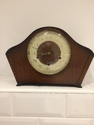 Art Deco style wooden mantelpiece clock Smiths Hand Winder With Key