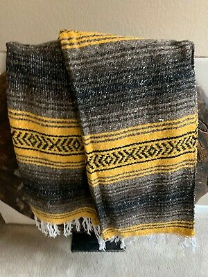 Mexican Falsa Blanket Brown,Yellow & Tan striped lines with White Fringe XL