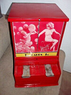 Original 1930's Exhibit Supply Pinup 1c Card Vendor w/Cards and Marquee Card