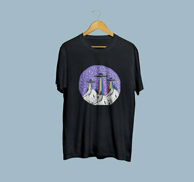 Space T-Shirt UFO Printed Short Sleeve Uniqe Tumblr Tee Hand Made Space T-Shirt