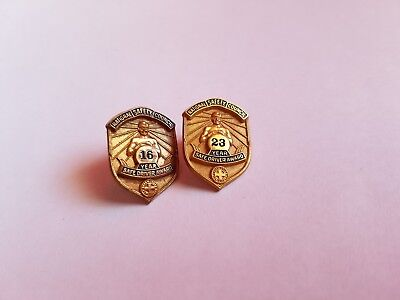 Vintage National Safety Council Safe Driver Award Pin 16 and 23 Years 2 Pins