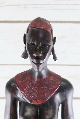 Vintage African Hand Carved Wood 2 Foot Tall Red Haired Women Statue