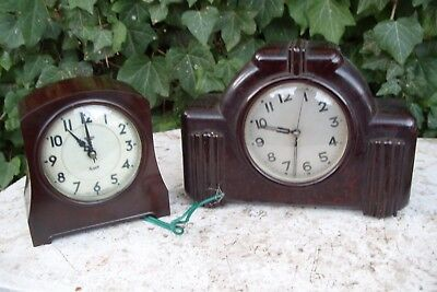 2   UNTESTED  BAKELITE MANTEL  CLOCKS  ONE A SMITHS  clock parts