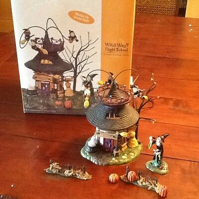 Dept 56 Snow Village Halloween Witch Way Flight School