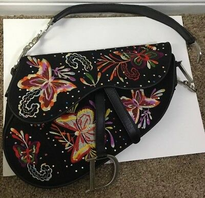 5200ccf19e10 Authentic Rare Vintage Christian Dior Black Floral Embroidered Saddle Bag  Purse