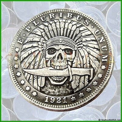 1921 Hobo Morgan Dollar Coin with Free Case - Indian Skull with Knife - Rare!