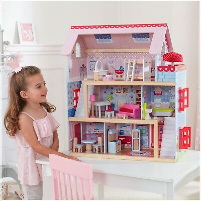 Wooden Dollhouse 16 Furniture Pieces Modern Play House Girls Xmas Gift Cottage