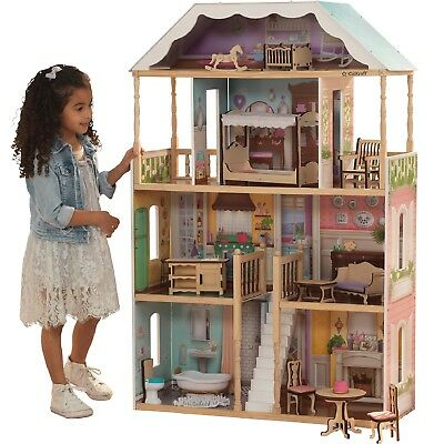 Modern Dollhouse 14 Furniture Pieces Play House Girls Xmas Gift Wooden Cottage