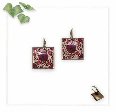 21mm Earrings Lever Backs - Square Antique Brass & Red Black Floral - Glass