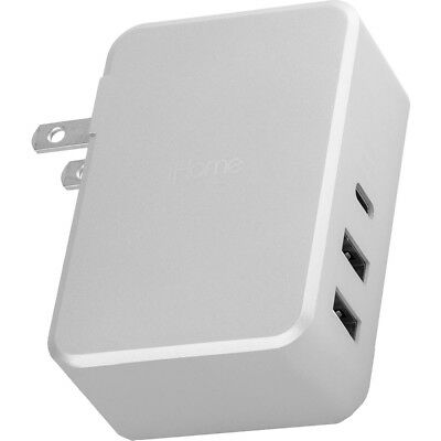 iHome 45W 6ft USB-C Portable 3-Port Wall Charger w/ 2 x USB-A & 1 x USB-C Ports