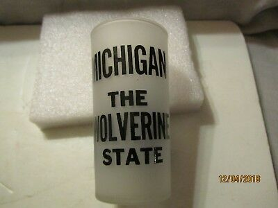 Vintage Michigan The Wolverine State Souvenir Frosted Water Glass M-2