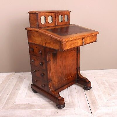 A Victorian Burr Walnut and Inlaid Davenport Circa 1870