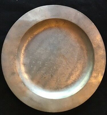 """Antique Pewter Charger 16 1/2"""" Diameter Flat Rim Front With Single Reeded Rim On"""