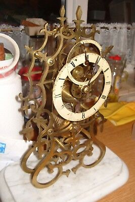 Mantel  Clock Skeleton Fusee  Clock Working  Brass  With  White  Base