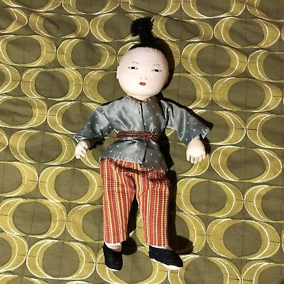Vintage Chinese Cloth Doll Soft Silk Clothes Embroidered Face Asian Rag Doll