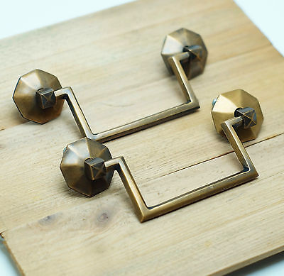 Lot of 2 pcs RETRO Vintage Cycle Western Solid Brass Cabinet Drawer Handle Pulls