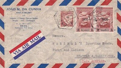 1940s Mozambique #264,#C10(2) on cover, Beira to Seattle WA *d