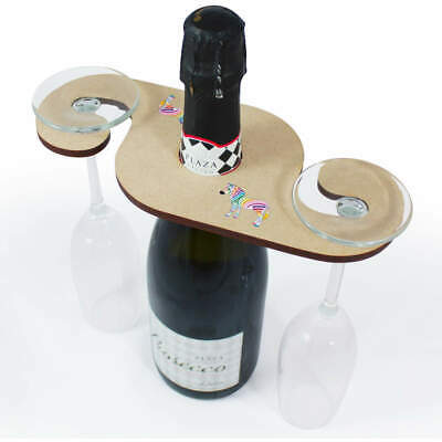 'Rainbow Zebra' Wooden Wine Glass / Bottle Holder (GH00038241)