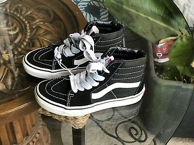Vans! Canvas Lace Up High Top Skateboard Shoes Black White Youth Size 1 4e30455ac