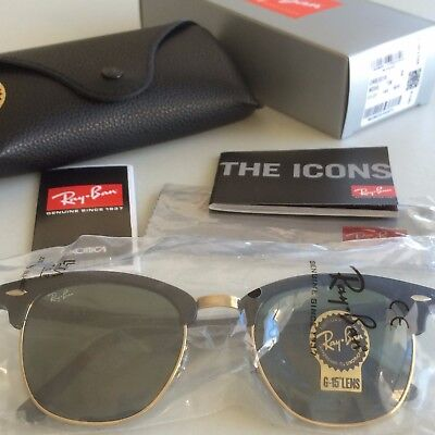 4bf4335505 Ray Ban Clubmaster 3016 Sunglasses Black Gold Frame 51mm - Brand New