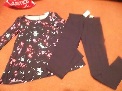 justice girls size -14/16--2 piece  top and leggings--black splatter -nwt
