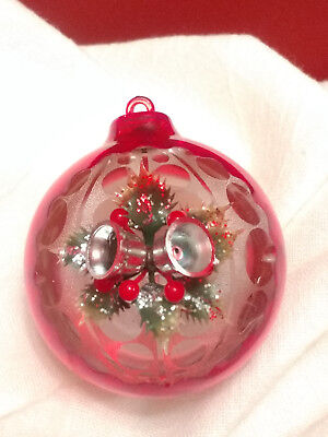 Vintage Plastic Diorama Christmas Ornament Silver Bells Holly Berry Glitter Red