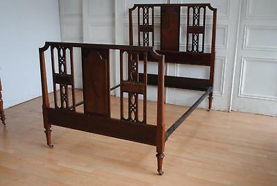 Fabulous Antique Walnut Fruitwood Inlaid Double Bed c1900