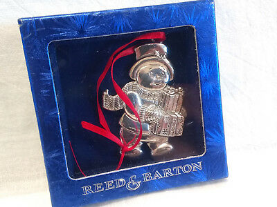 Reed & Barton Snowman Christmas Tree Ornament Silver Plate 2001 Mib