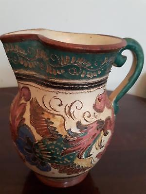 RARE Antique Folk ART Redware jug pitcher art pottery hand carved & hand painted