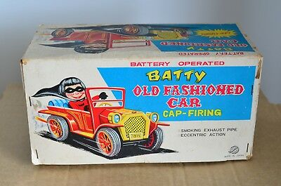 Old Boxed Japanese Battery Operated Batty Old Fashioned Cap Firing Tin Toy Car
