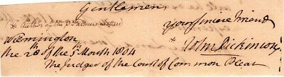 John Dickinson, Founding Father of the U.S., Congress, signed letter closing