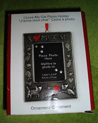 I LOVE MY CAT Photo Frame Holder Heirloom Christmas Ornament Boxed