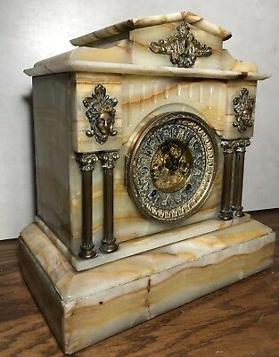 Undocumented Ansonia Marble Open Escapement 4 Pillar French Style Mantle Clock