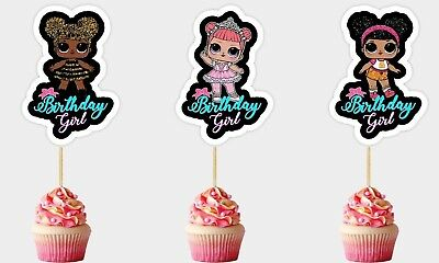 Set of 12 LOL SURPRISE TOPPERS CUPCAKE PICKS Toppers Party DIE CUTS - REF 10