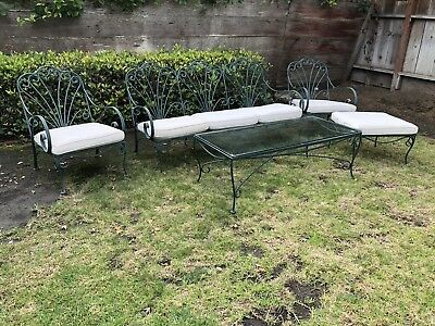 Vintage 5 piece Patio Furniture Set  Wrought iron and glass. Heavy Duty.