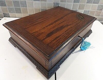 Art Deco Solid Oak Box With 2 Original Lined Compartments Dated 1932- Lock & Key