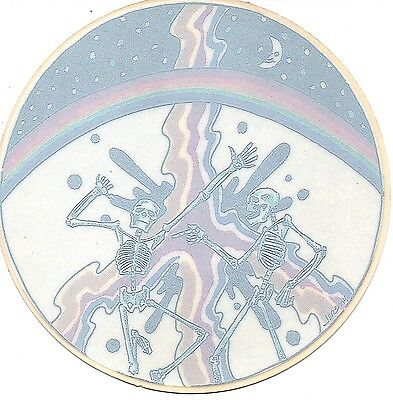 "Grateful Dead Dancing Skeletons Rainbow Peace Sign 4.5"" Round Window STICKER"