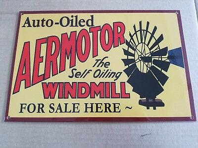 Aermotor Windmill Thick Metal Sign Made in USA Farm Barn Electric Power Water