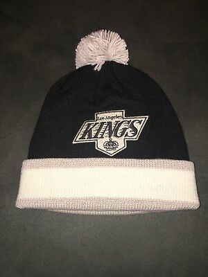 a015485568ae79 Mitchell & Ness Los Angeles Kings Pom Beanie Black White Gray Knit Winter  Hat