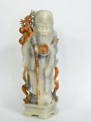 "MASSIVE ANTIQUE CHINESE EXPORT FINELY CARVED SOAPSTONE LOHAN ~ 12"" / 7 Lbs"